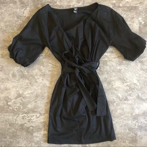 WINDSOR Black Wrap Detail Tie Waist Dress | XS